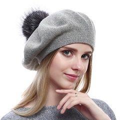 2b9dab4cc1774 QUEENFUR Women Wool Beret – Real Silver Fox Fur Pom Pom Beanies Winter Knit  Cashmere Hats