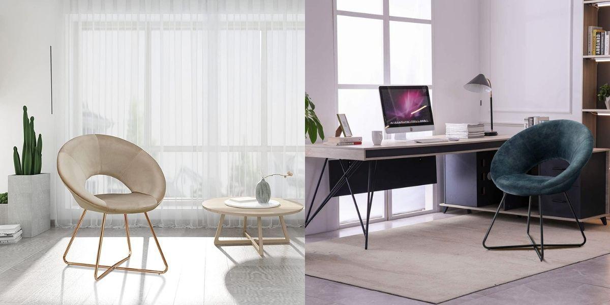 Modern Accent Velvet Chairs Dining Chairs Single Sofa_OnlineHarbour